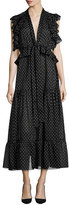 Robert Rodriguez Polka Dot Midi Dress, Black