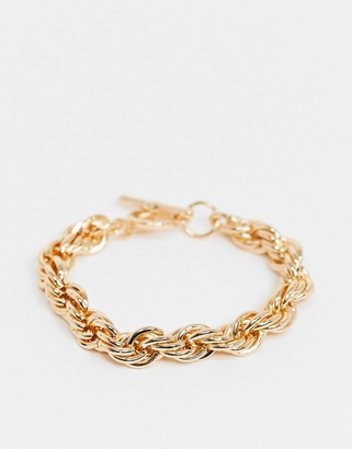 Topshop chunky rope chain bracelet with t bar closure