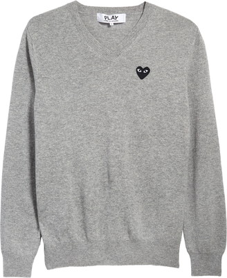 Comme des Garcons Black Heart Wool V-Neck Sweater