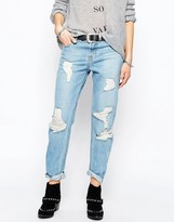 The Laundry Room Boyfriend Jeans in Mid Blue Wash
