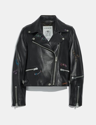 Coach A Love Letter To New York Leather Biker Jacket