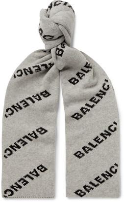 Balenciaga Logo-Jacquard Virgin Wool And Camel Hair-Blend Scarf