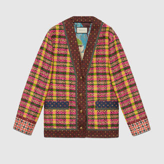 Gucci Check tweed jacket with silk trims