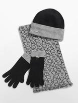 Calvin Klein Knit Hat, Tech Gloves + Logo Scarf Set