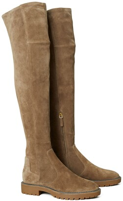 Tory Burch Miller Suede Lug Sole Over-the-Knee Boot
