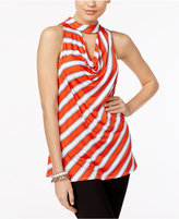 NY Collection Striped Choker Draped Cutout Top