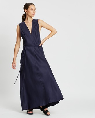 BONDI BORN Women's Navy Maxi dresses - Fluid V-Neck Dress - Size One Size, S at The Iconic
