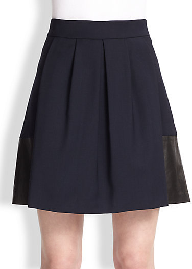 Vince Leather-Paneled Stretch Wool Skirt