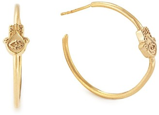 Alex and Ani 14K Gold Plated Sterling Silver Hand of Fatima Hoop Earrings