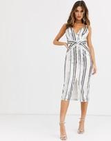 TFNC sequin midi slip dress in white and nude