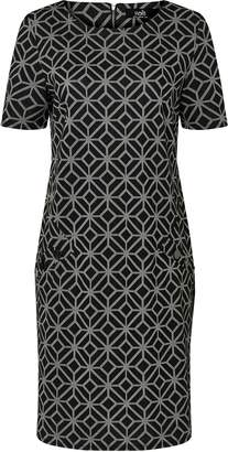 Wallis PETITE Black Geometric Print Shift Dress