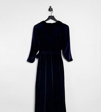 ASOS DESIGN Curve velvet wrap midi dress in navy