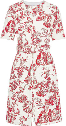 Oscar de la Renta Belted Floral-print Cotton-blend Boucle Dress