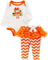 Baby Essentials Orange Turkey Bodysuit & Chevron Tutu Leggings - Infant
