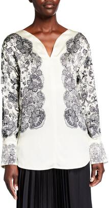 Escada Lace-Print Silk Tunic