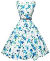 VINDOOXI Womens Vintage 1950's Cotton Full Printed Sleeveless Belt Cocktail Dresses (XS, Blue Flora)
