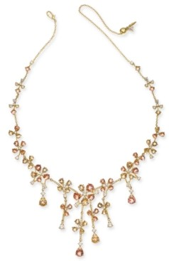 "Eliot Danori 18K Gold-Plated Crystal Flower 18"" Statement Necklace, Created for Macy's"