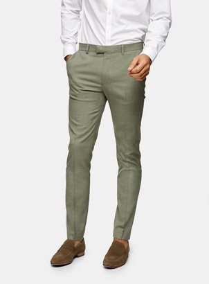 Topman Khaki Skinny Fit Suit Trousers