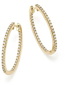 Bloomingdale's Diamond Oval Hoops in 14K Yellow Gold, .60 ct. t.w. - 100% Exclusive