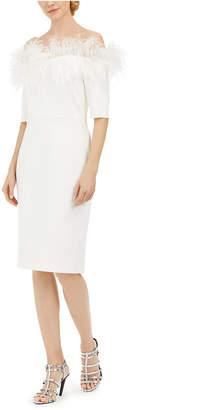 Calvin Klein Off-The-Shoulder Faux-Feather Dress