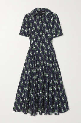 Emilia Wickstead Floral-print Swiss-dot Cotton-seersucker Midi Dress - Blue