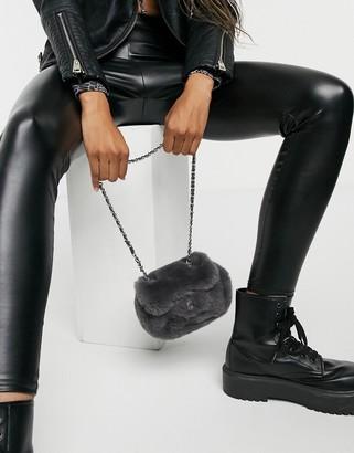 Accessorize crossbody bag in grey faux fur