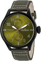 Peugeot Men's 2044BGR Black Plated Nylon Day Date Calendar Aviator Analog Display Quartz Watch