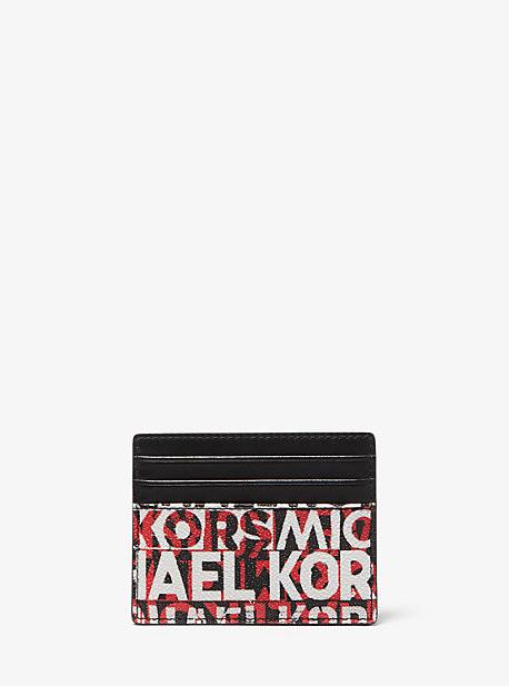 Michael Kors Greyson Tall Graphic Logo Card Case - Blk/rc Rd
