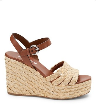Prada Raffia Espadrille Wedge Sandals