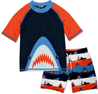 Millie & Maxx Boys' Board Shorts Shark - Black & Red Shark Deep Ocean Short-Sleeve Rashguard Set - Toddler & Boys