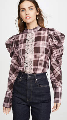 Silvia Tcherassi Plaid Blouse with Puff Shoulders