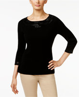 Charter Club Cashmere Embellished Sweater, Only at Macy's