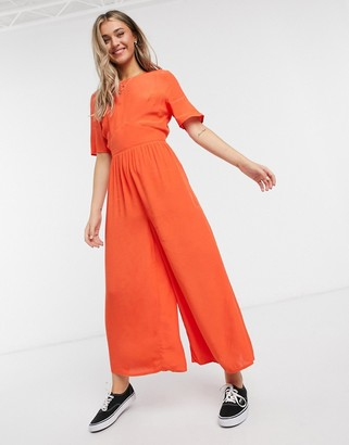 ASOS DESIGN tea jumpsuit with button back detail in tomato red