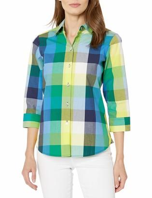 Foxcroft Women's 3/4 Sleeve Sue Multi Plaid Shirt