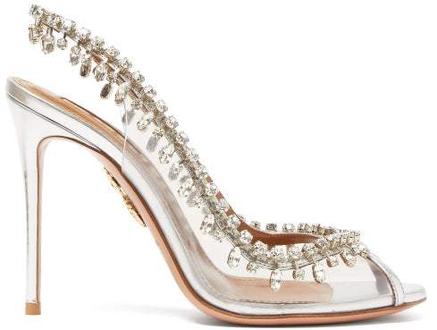 Aquazzura Temptation 105 Crystal Drop Pvc Slingback Heels - Womens - Silver