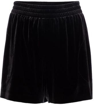 Norma Kamali High-rise velvet shorts
