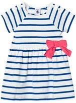 Petit Bateau Blue Stripe Jersey Dress with Bow Detail