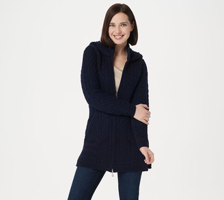 Aran Craft Merino Wool Zip-Front Hooded Sweater Cardigan