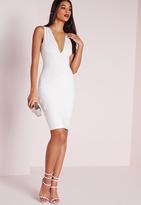 Missguided Plunge Bandage Bodycon Dress White