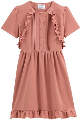 Balzac Paris X La Redoute Collections Cotton Knee-Length Dress with Ruffles and Short Sleeves