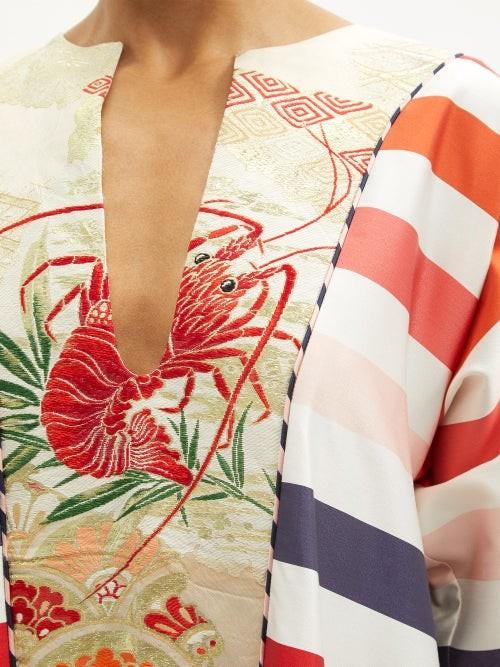 Thumbnail for your product : RIANNA + NINA Striped Vintage Silk-poplin Maxi Dress - Multi