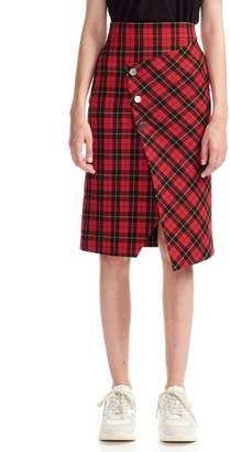 Maje Janty Asymmetrical Plaid Pencil Skirt