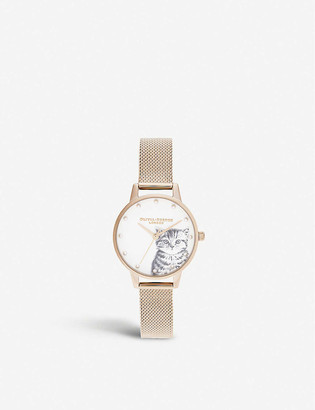 Olivia Burton OB16WL88 Illustrated Animals kitten rose-gold-plated stainless-steel watch