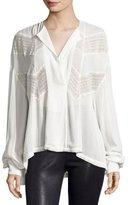 IRO Yamy Long-Sleeve Lace & Plissé Top, Ivory