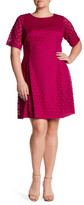 Eliza J Raglan Elbow Sleeve Lace Dress (Plus Size)