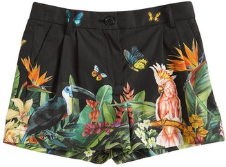 Dolce & Gabbana Jungle Print Cotton Poplin Shorts