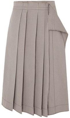 Cédric Charlier Pleated Gingham Cotton-blend Midi Skirt