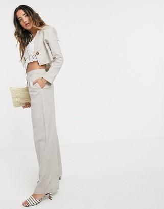 Asos Design DESIGN linen wide leg suit pants