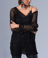 Hopoi HOPOI Women's Pullover Sweaters BLACK - Black V-Neck Sweater - Women