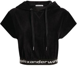 Alexander Wang Crop Velour Logo Hoodie